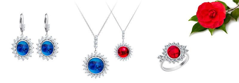 Kolekce stříbrných šperků Camellia s českým křišťálem a kubickou zirkonií Preciosa