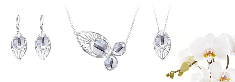 Kolekce stříbrných šperků Orchid s českým křišťálem Preciosa